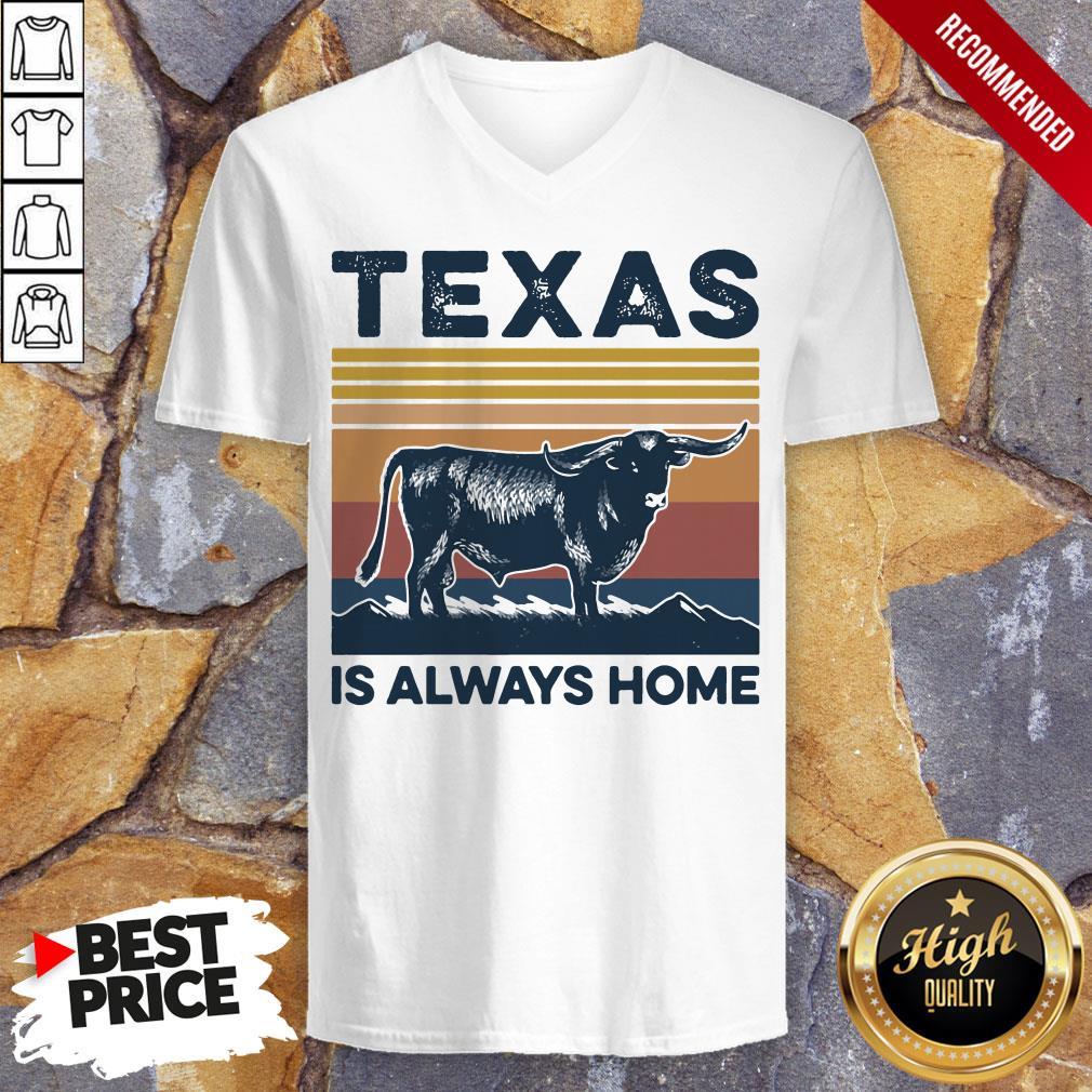Texas Is Always Home Vintage Retro V-neck