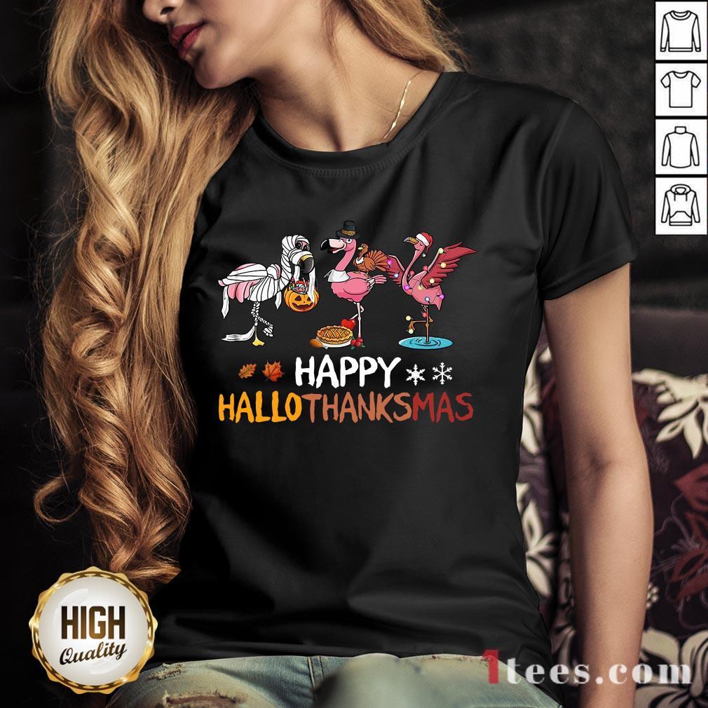 Top Flamingos Happy Hallothanksmas V-neck