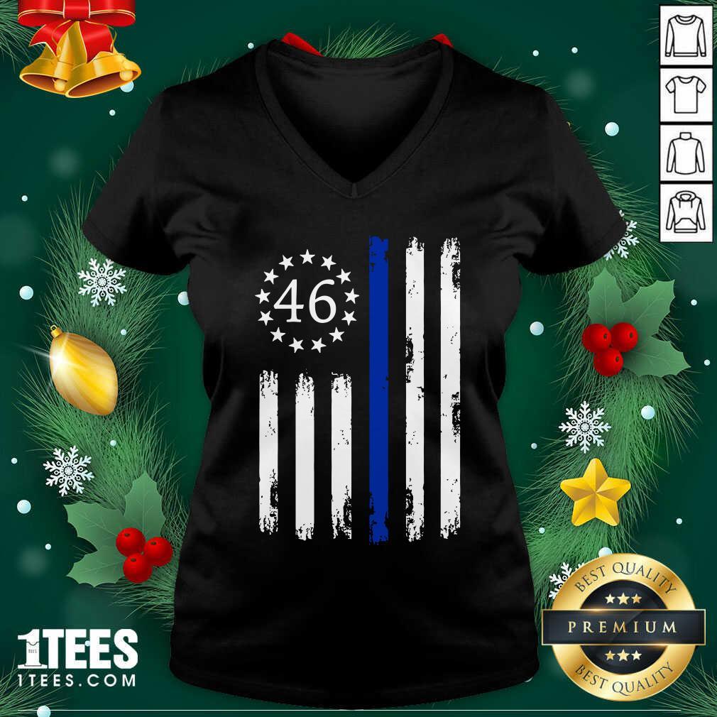 Joe Biden 46 President Betsy Ross Flag Thin Blue Line V-neck- Design By 1tees.com