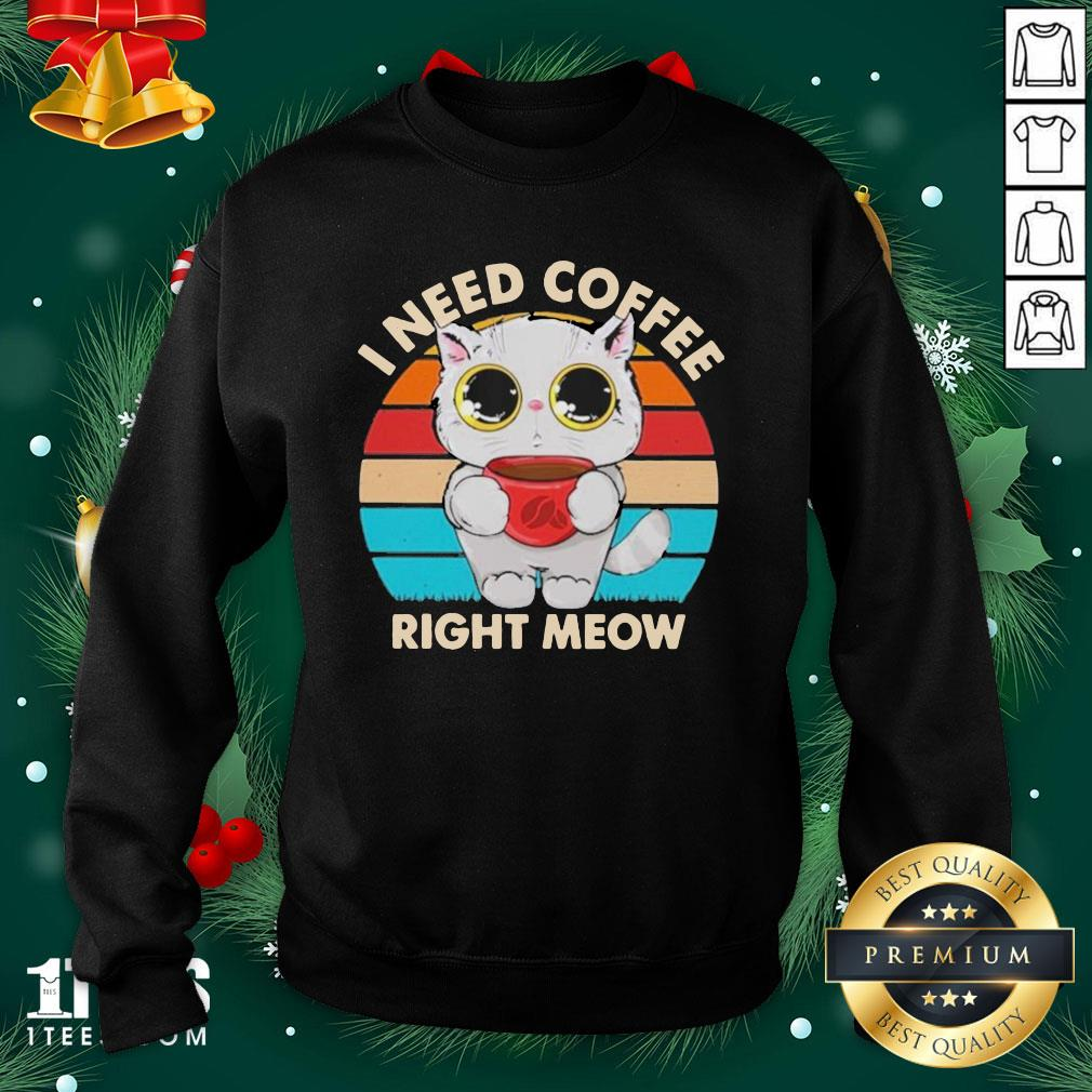Beautiful I Need Coffee Right Meow Vintage Sweatshirt - Design By 1tee.com