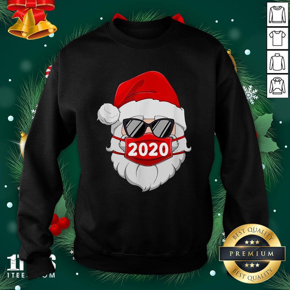 Cute Santa Claus Face Mask Glasses Sweatshirt - Design By 1tee.com