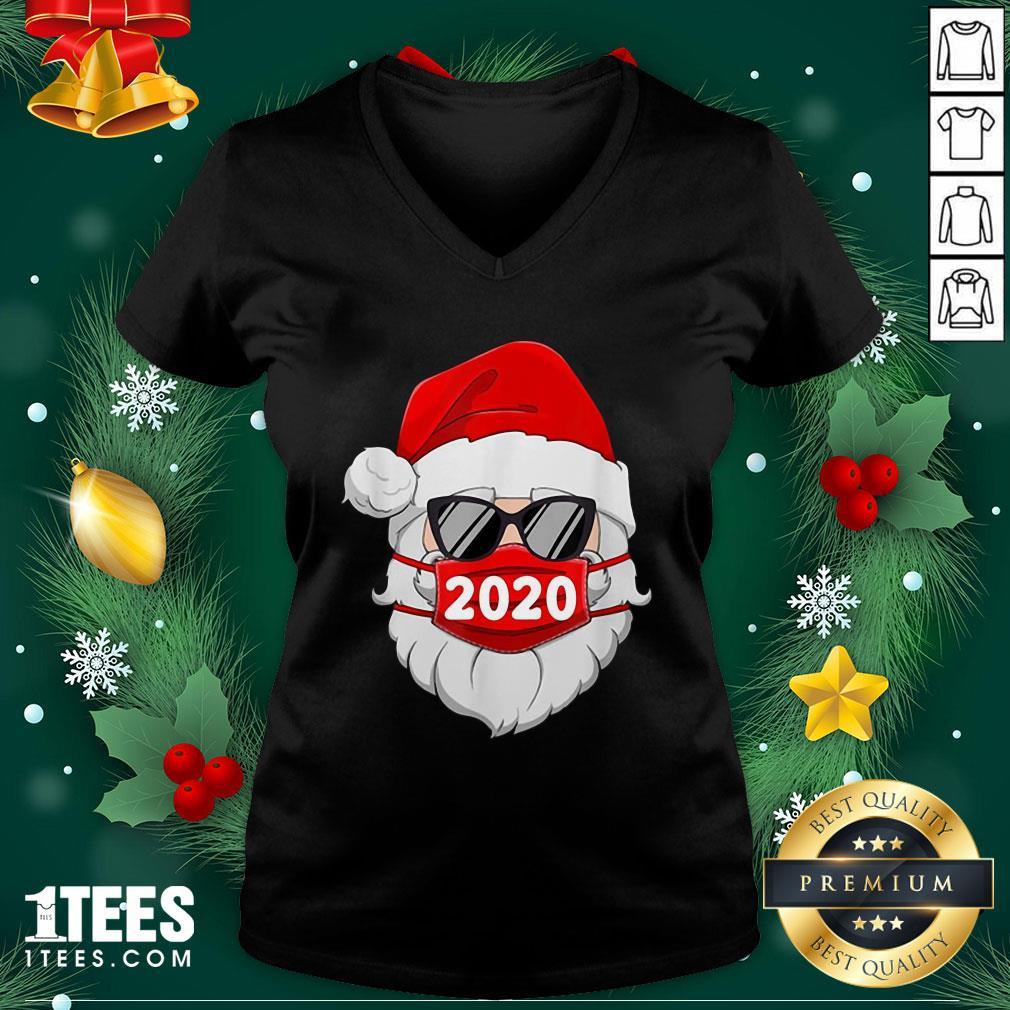 Cute Santa Claus Face Mask Glasses V-neck - Design By 1tee.com