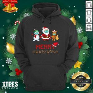Merry Christmas 2020 Quarantine Santa Reindeer Wear Mask Holiday Hoodie- Design By 1Tees.com