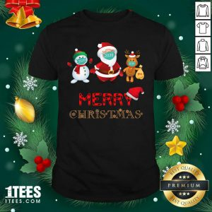 Merry Christmas 2020 Quarantine Santa Reindeer Wear Mask Holiday Shirt- Design By 1tees.com