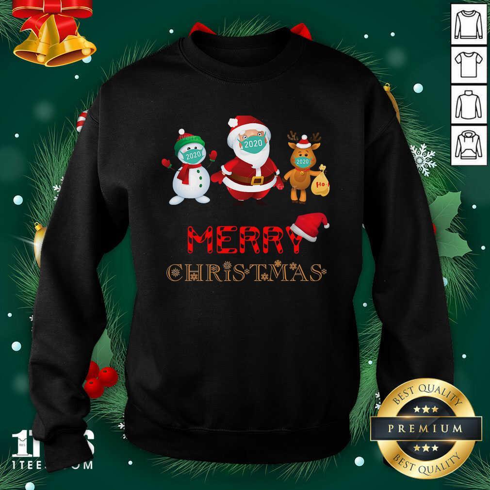 Merry Christmas 2020 Quarantine Santa Reindeer Wear Mask Holiday Sweatshirt- Design By 1Tees.com