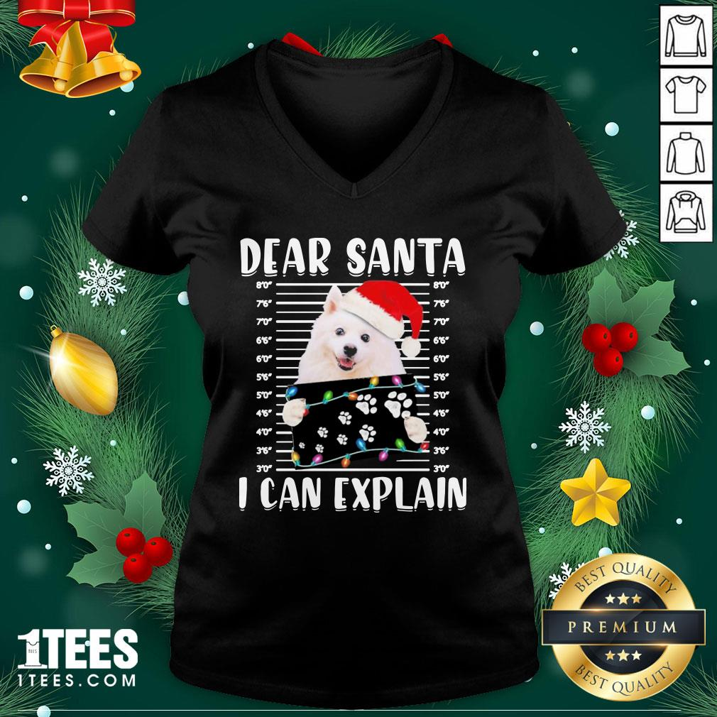 Great American Eskimo Dog Dear Santa I Can Explain Christmas Sweater V-neck - Design By 1tee.com