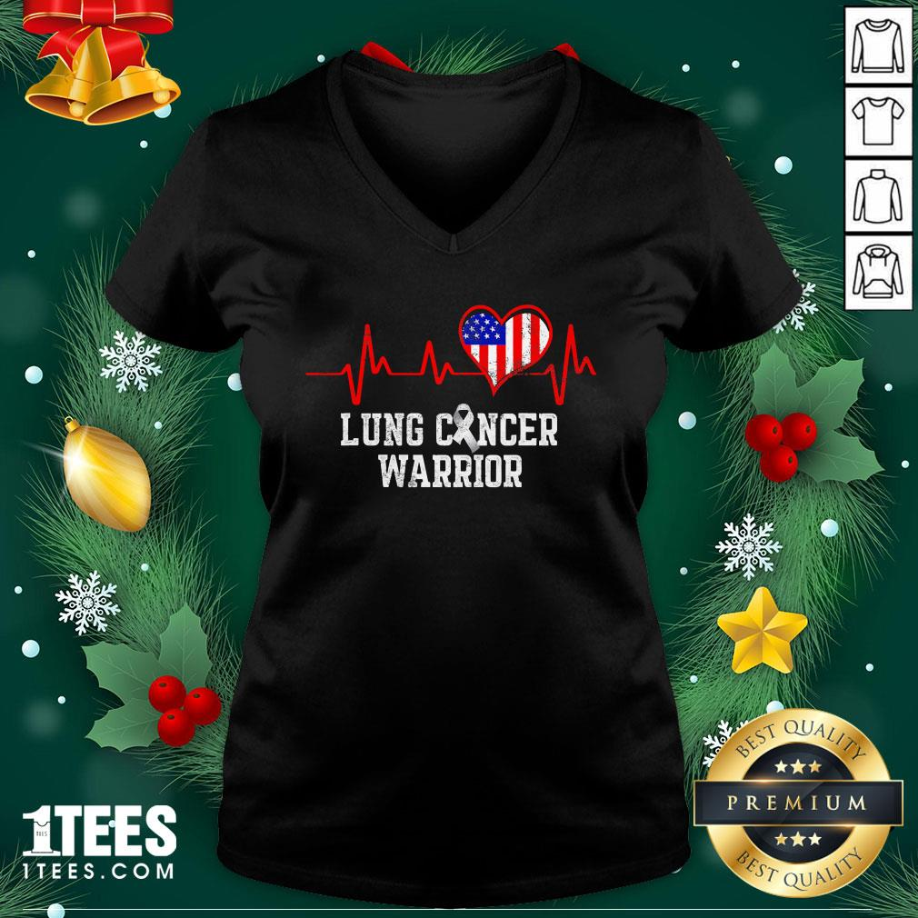 Happy Lung Cancer Survivor Achieved Carcinoma Warrior American Flag Heartbeat V-neck - Design By 1tee.com