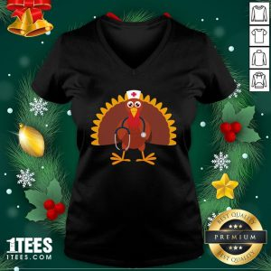 Happy Nurse Thanksgiving 2020 Turkey Wearing Mask V-neck - Design By 1tee.com