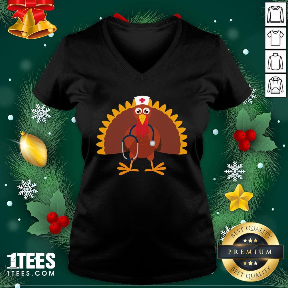 Happy Nurse Thanksgiving 2020 Turkey Wearing Mask V-neck - Design By 1tee.com