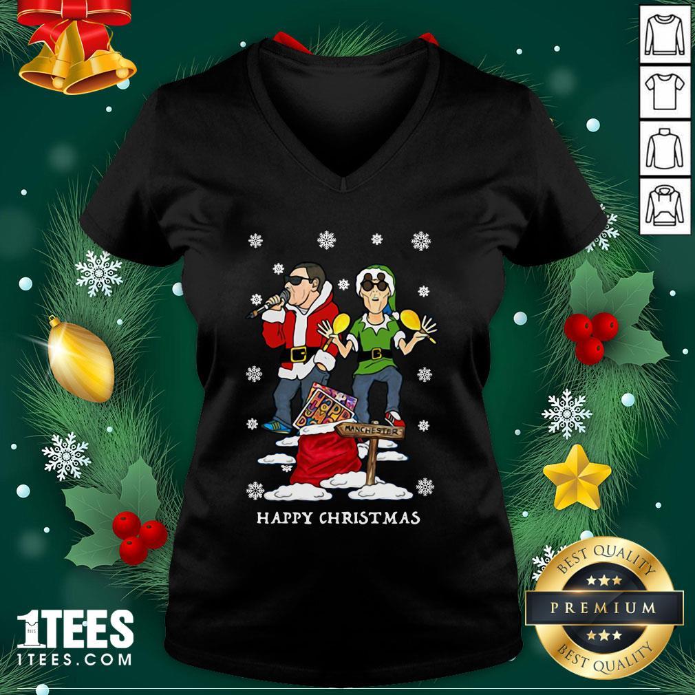 Hot Happy Mondays Christmas Jumper Sweat V-neck - Design By 1tee.com