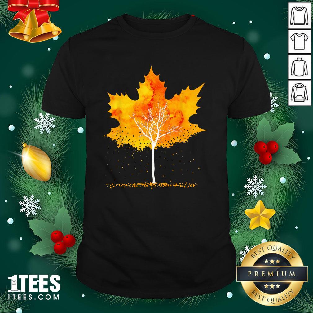 Hot Maple Leaf Autumn Tree Orange Fall Leaves Season Shirt - Design By 1tee.com