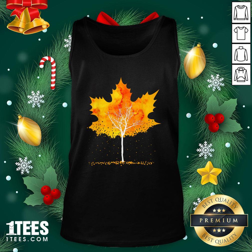 Hot Maple Leaf Autumn Tree Orange Fall Leaves Season Tank Top - Design By 1tee.com