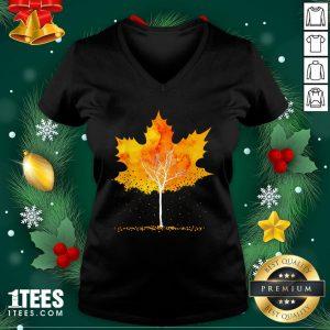 Hot Maple Leaf Autumn Tree Orange Fall Leaves Season V-neck - Design By 1tee.com
