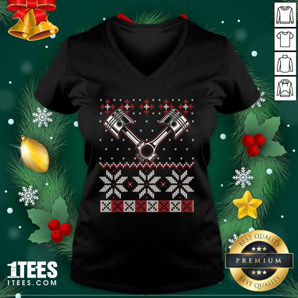 Official Automobile Piston Ugly Christmas Sweater Auto Car Mechanic V-neck - Design By Thelasttees.com