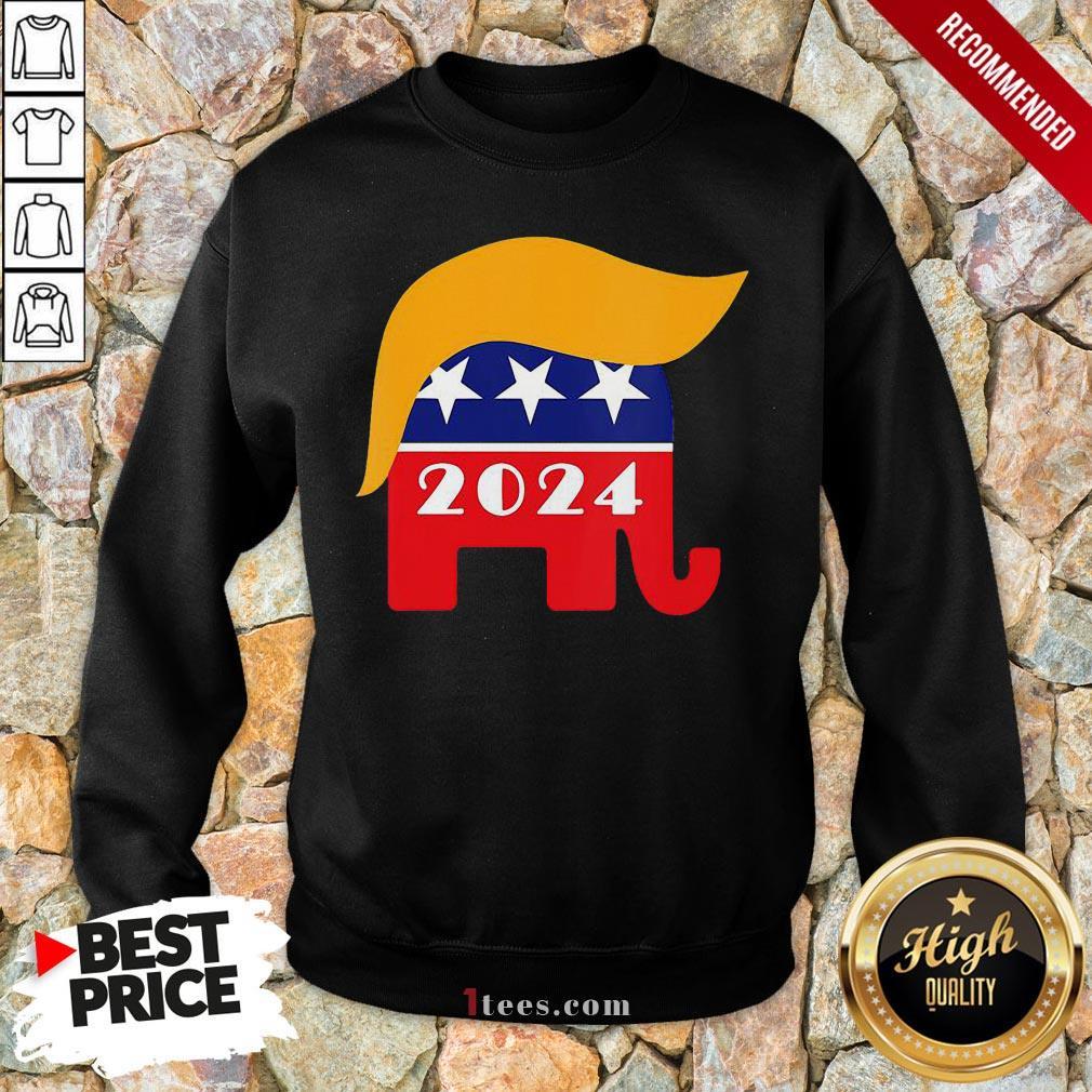 Official President Trump 2024 Republican Elephant Hair Logo Sweatshirt - Design By T-shirtbear.com