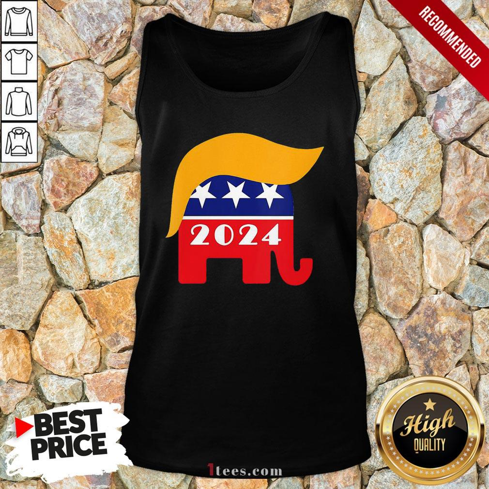 Official President Trump 2024 Republican Elephant Hair Logo Tank Top - Design By T-shirtbear.com