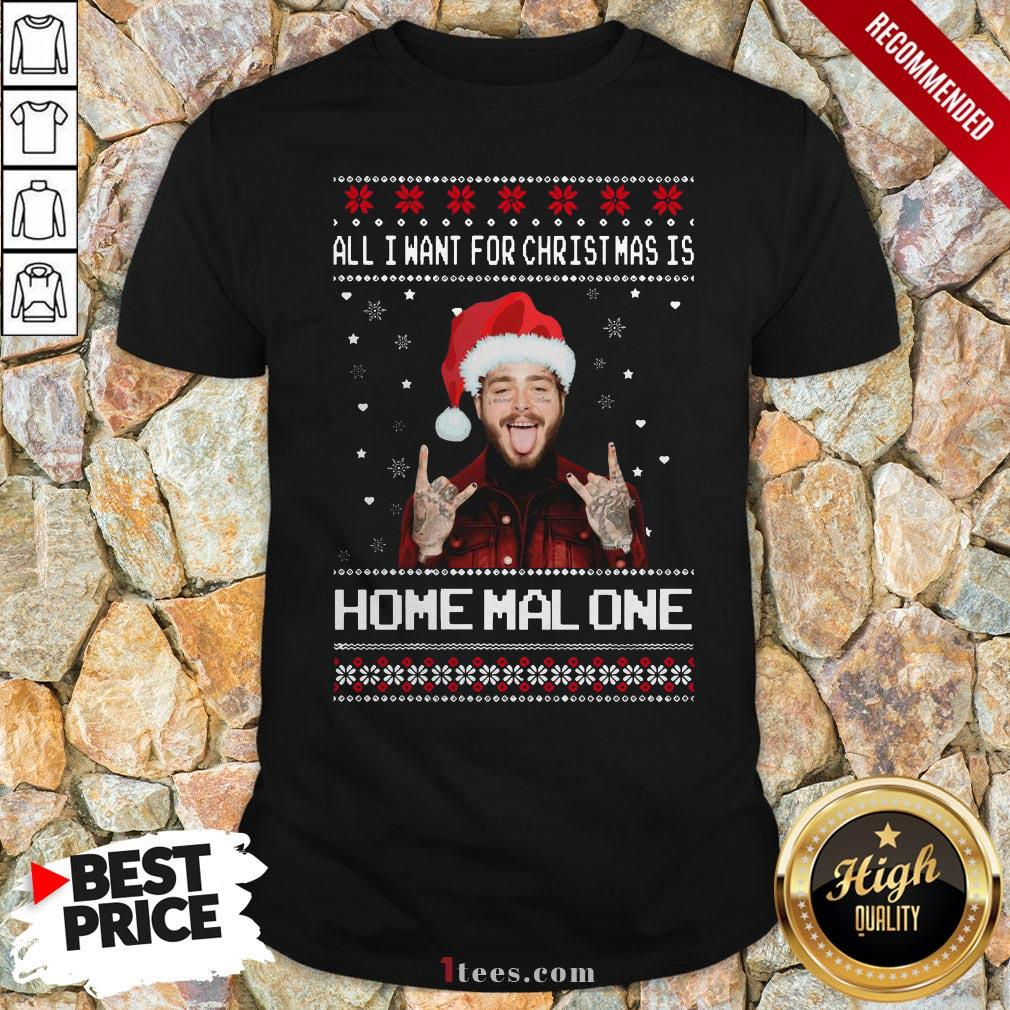Original Post Malone All I Want For Christmas Is Home Malone Ugly Christmas V-neck - Design By T-shirtbear.com