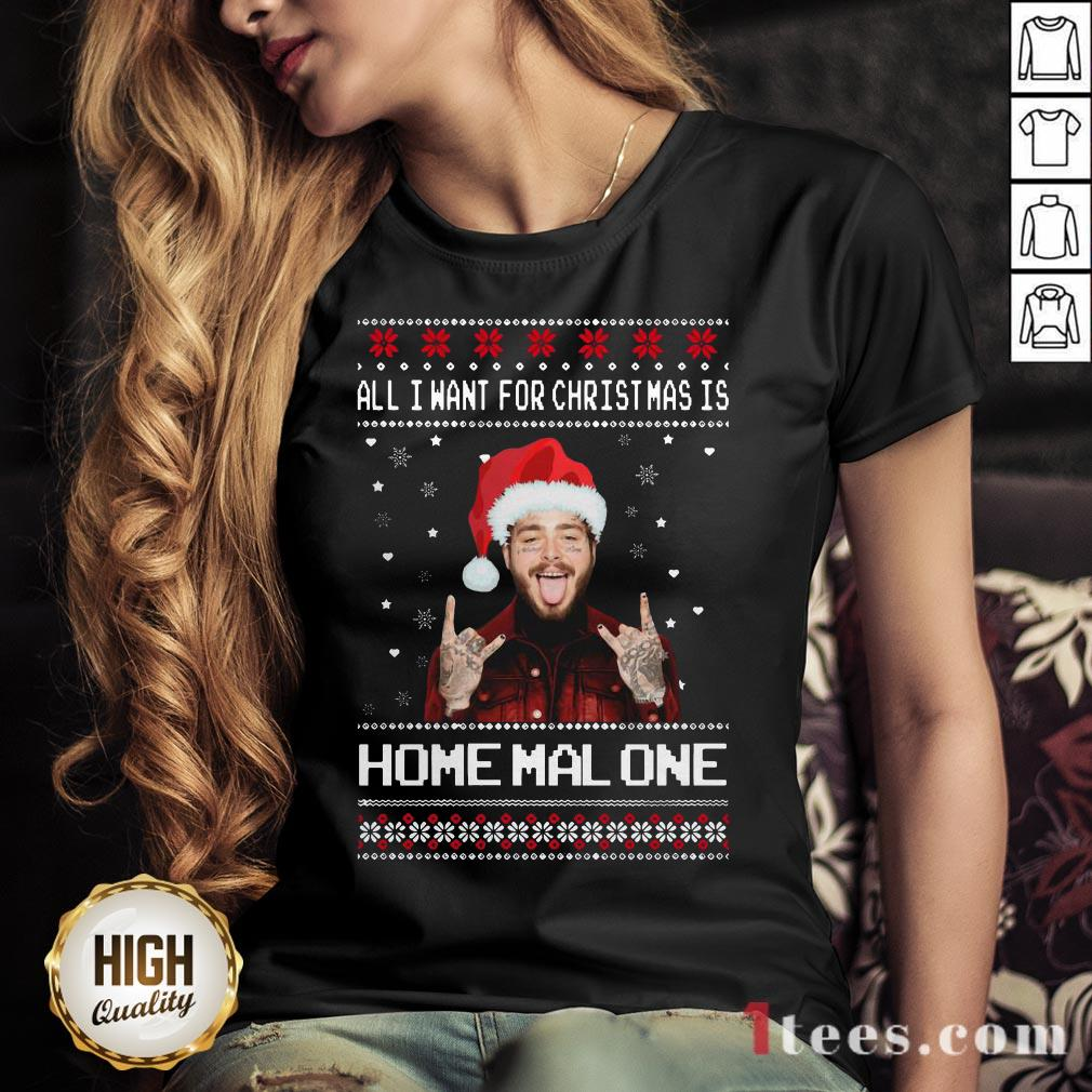 Original Post Malone All I Want For Christmas Is Home Malone Ugly Christmas Shirt - Design By T-shirtbear.com