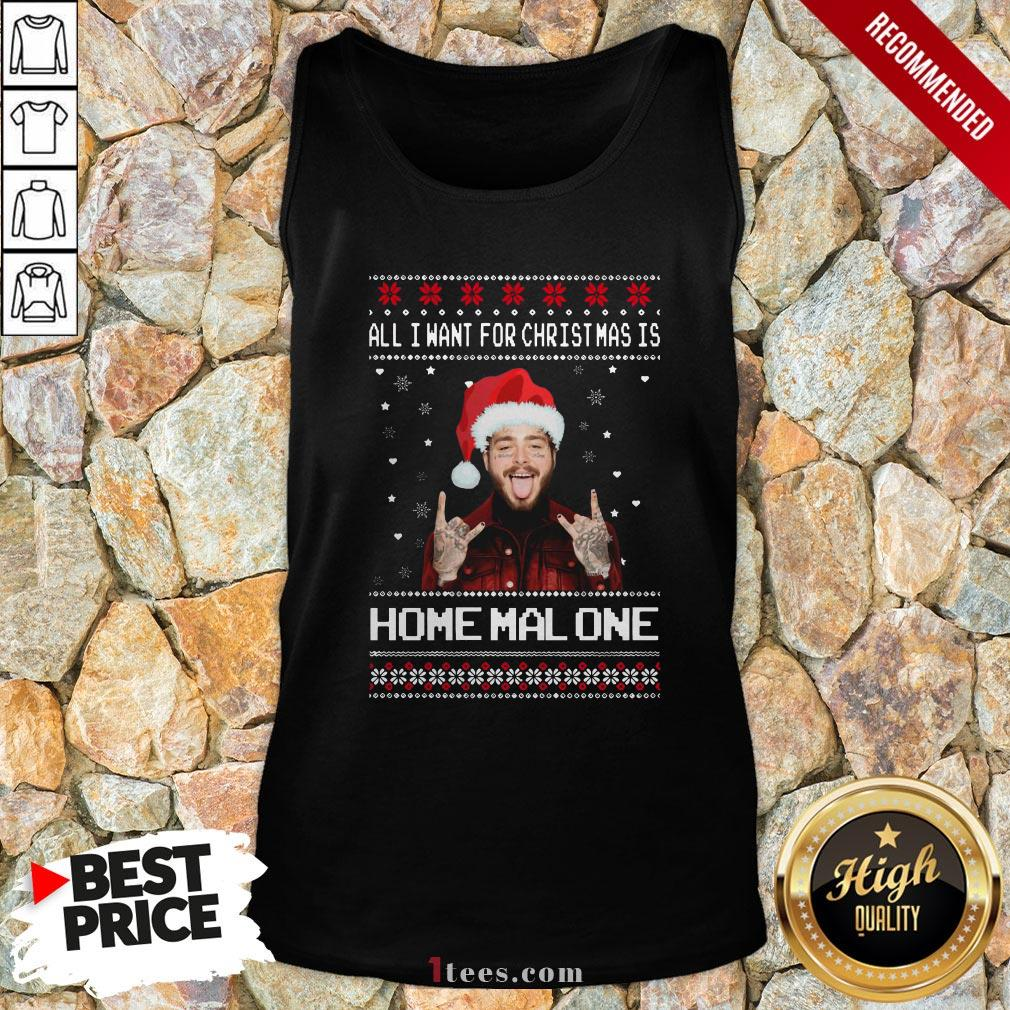 Original Post Malone All I Want For Christmas Is Home Malone Ugly Christmas Tank Top - Design By T-shirtbear.com