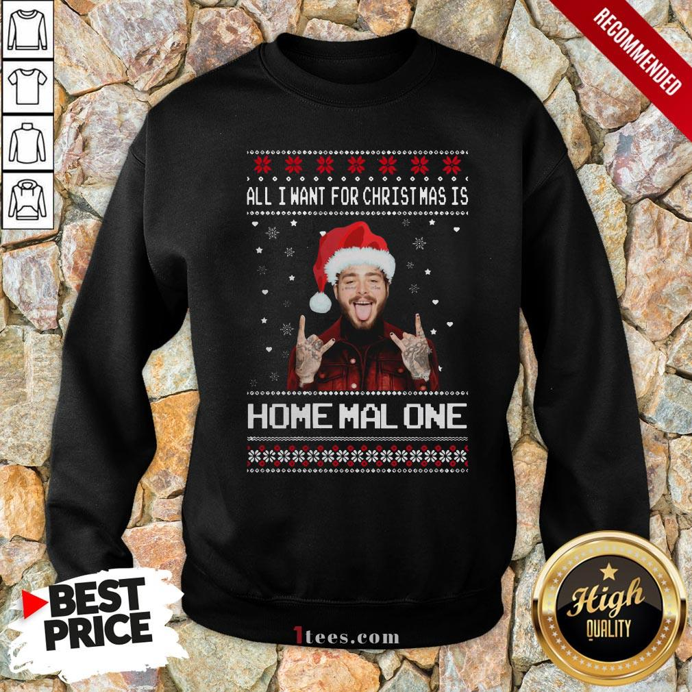 Original Post Malone All I Want For Christmas Is Home Malone Ugly Christmas Sweatshirt - Design By T-shirtbear.com
