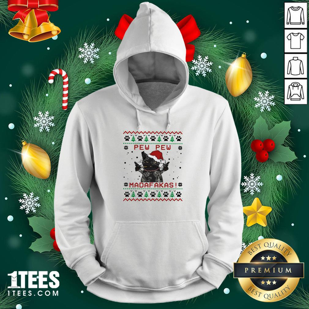 Premium Black Cat Tattoo Santa Pew Pew Madafakas Ugly Hoodie - Design By 1tee.com