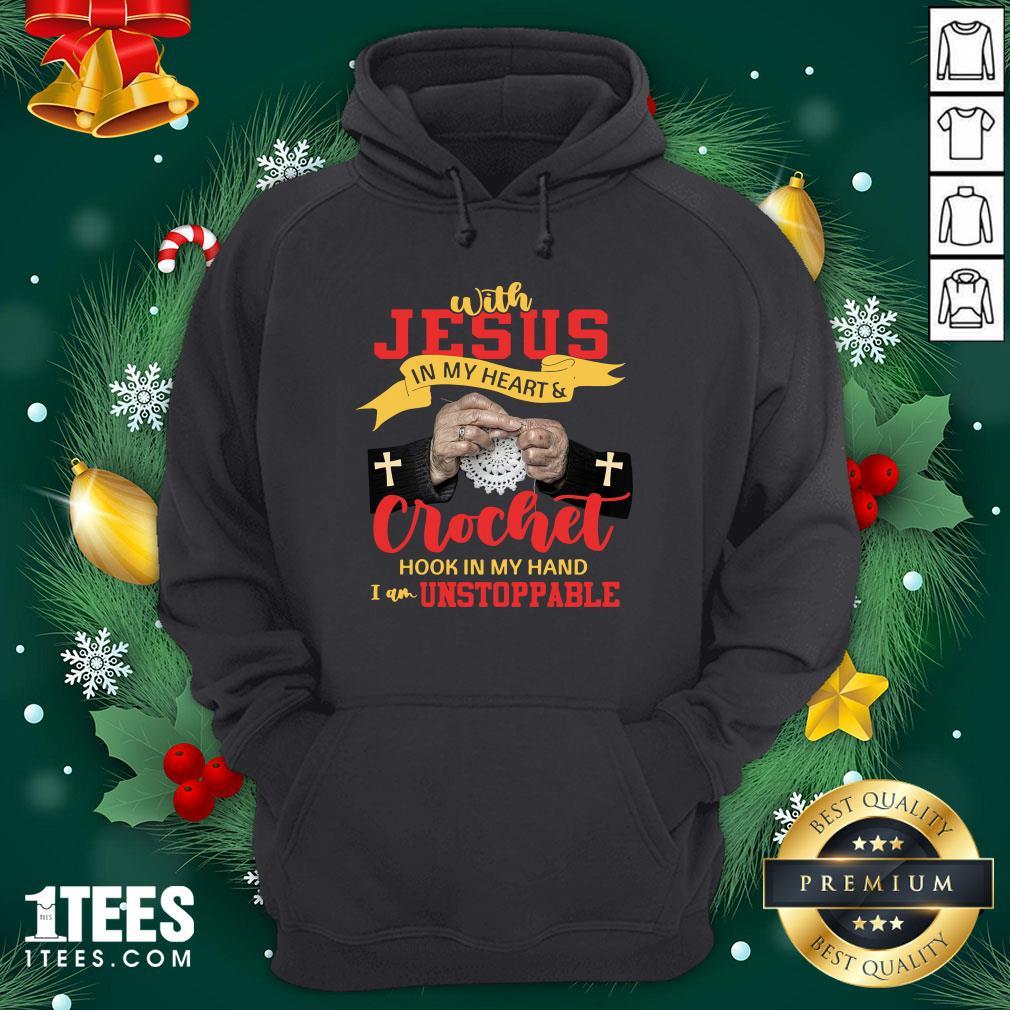 Premium With Jesus In My Heart Crocket Hook In My Hand Hoodie - Design By 1tee.com