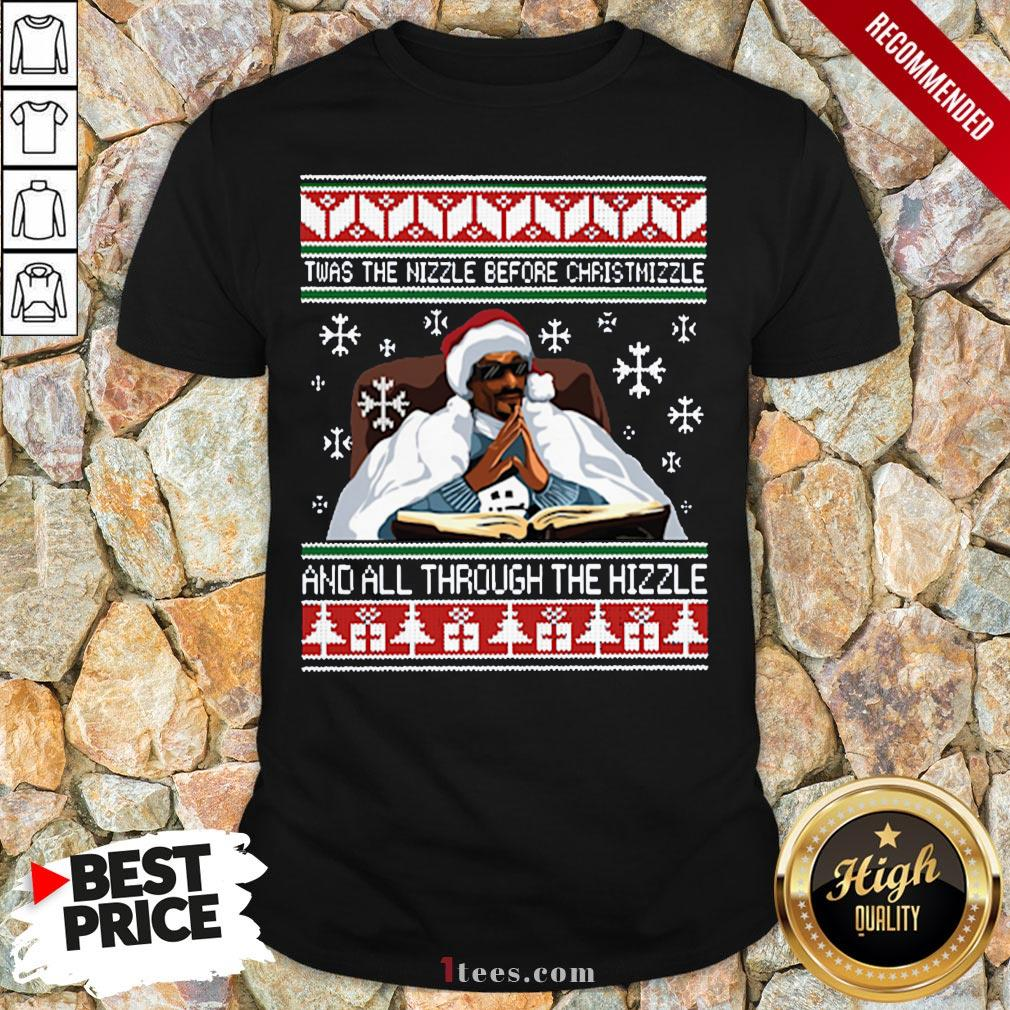 Pretty Snoop Dogg Twas The Nizzle Before Christmizzle And All Through The Hizzle Ugly V-neckDesign By T-shirtbear.com
