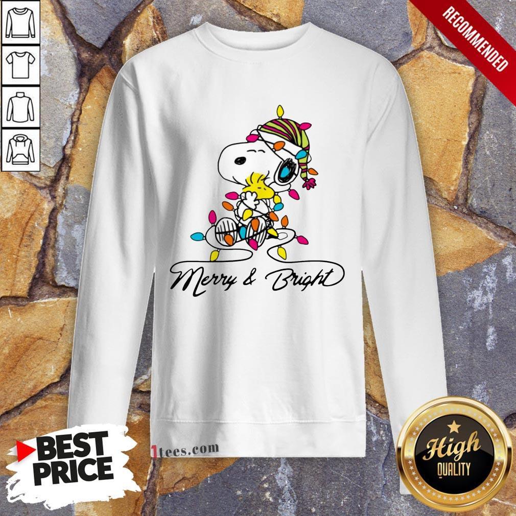 Pretty Snoopy Merry And Bright Sweatshirt Design By T-shirtbear.com