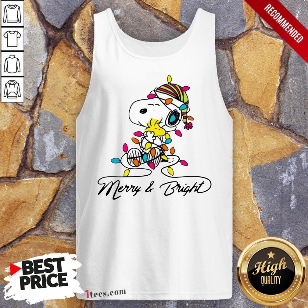Pretty Snoopy Merry And Bright Tank Top Design By T-shirtbear.com