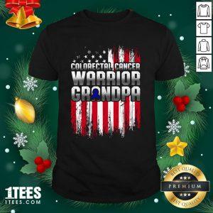 Pro Colorectal Cancer Warrior Grandpa American Flag Shirt - Design By 1tee.com