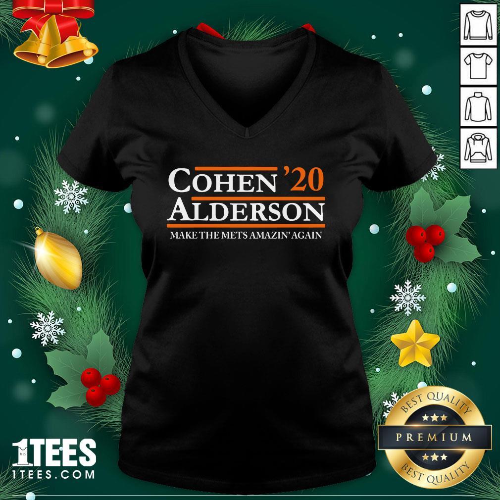 Top Cohen Alderson 2020 Make The Mets Amazin' Again V-neck - Design By 1tee.com