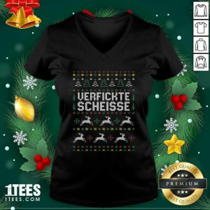 Verfickte Scheisse Ugly Merry Christmas V-neck - Design By 1tees.com
