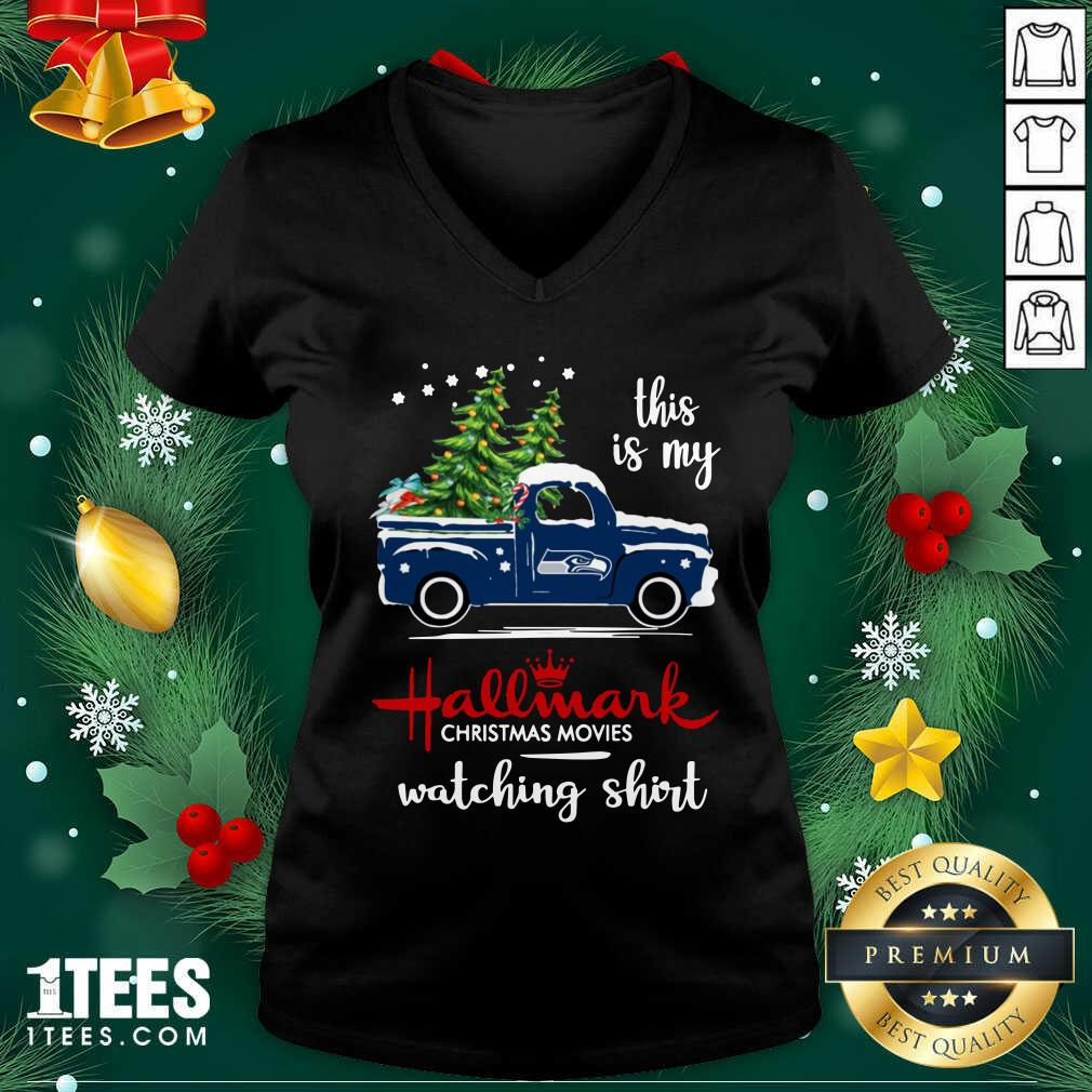 Seattle Seahawks This Is My Hallmark Christmas Movies Watching V-neck- Design By 1Tees.com
