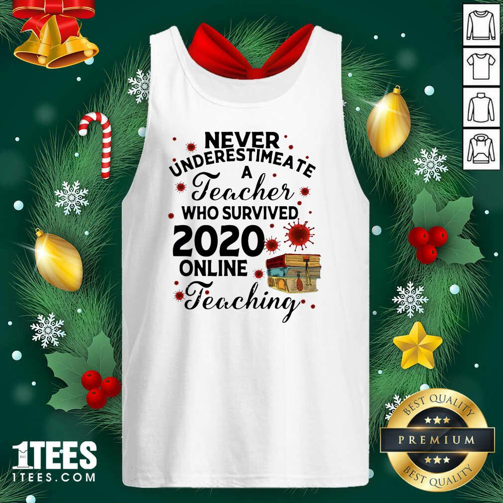 Never Underestimate A Teacher Who Survived 2020 Online Teaching Tank Top- Design By 1Tees.com