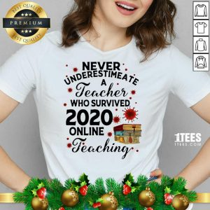 Never Underestimate A Teacher Who Survived 2020 Online Teaching V-neck- Design By 1Tees.com