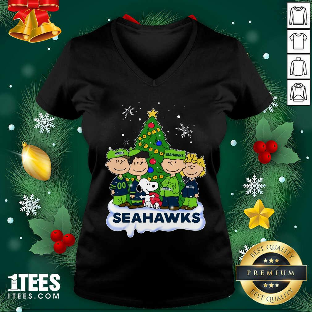 Snoopy The Peanuts Seattle Seahawks Christmas V-neck- Design By 1Tees.com