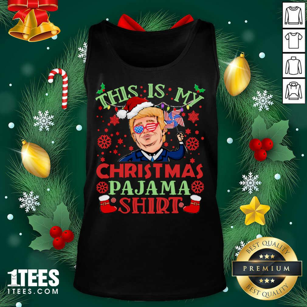 Donald Trump This Is My Christmas Pajama American Flag Tank Top- Design By 1tees.com