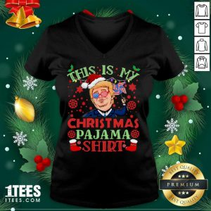 Donald Trump This Is My Christmas Pajama American Flag V-neck- Design By 1tees.com