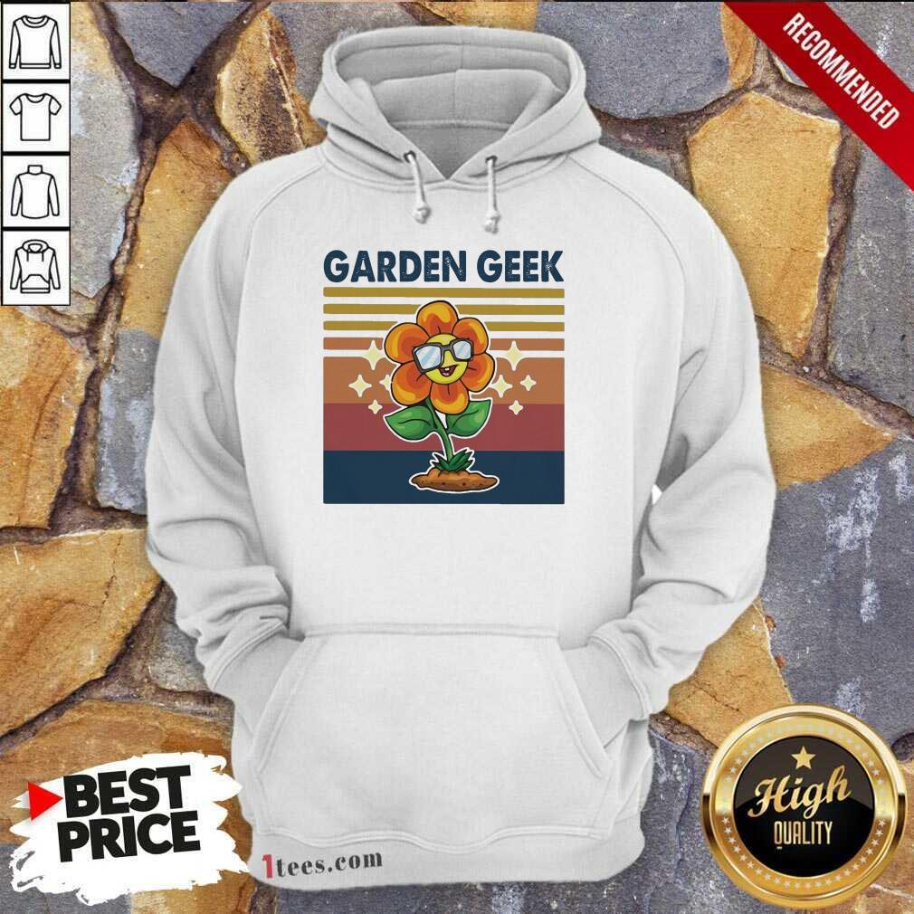 Garden Geek Sun Flower Happily Vintage Hoodie- Design By 1Tees.com