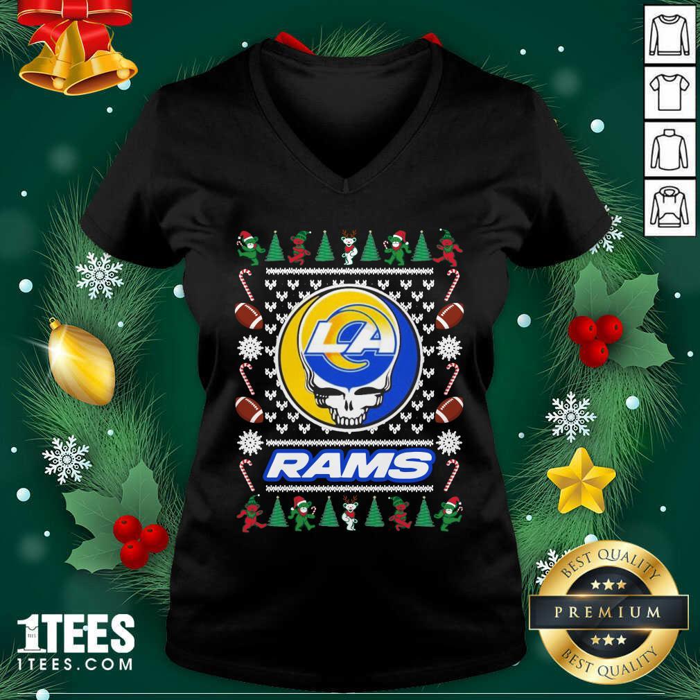 Los Angeles Rams Grateful Dead Ugly Christmas V-neck- Design By 1Tees.com