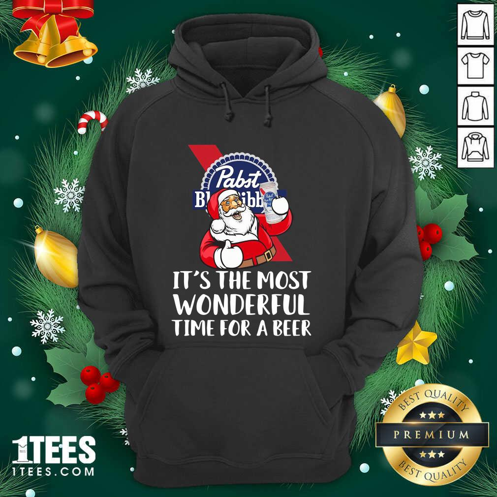 Pabst Blue Ribbon It's The Most Wonderful Time For A Beer Hoodie- Design By 1tees.com