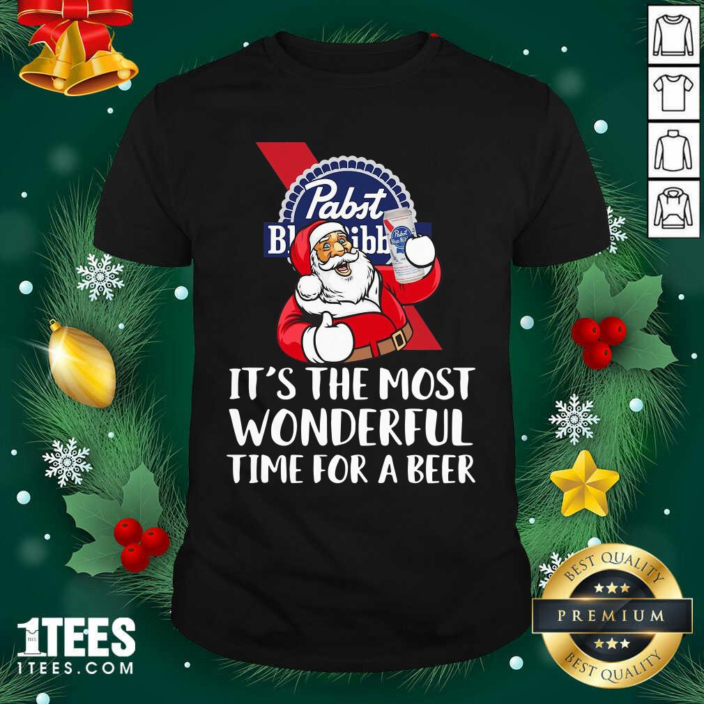 Pabst Blue Ribbon It's The Most Wonderful Time For A Beer Shirt- Design By 1Tees.com