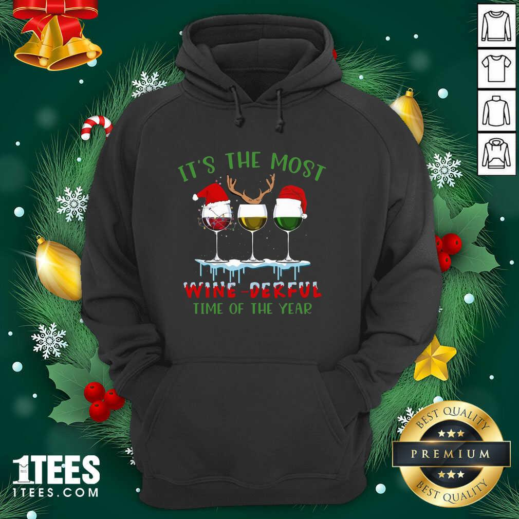 Its The Most Wine Derful Time Of The Year Merry Christmas Light Hoodie- Design By 1Tees.com