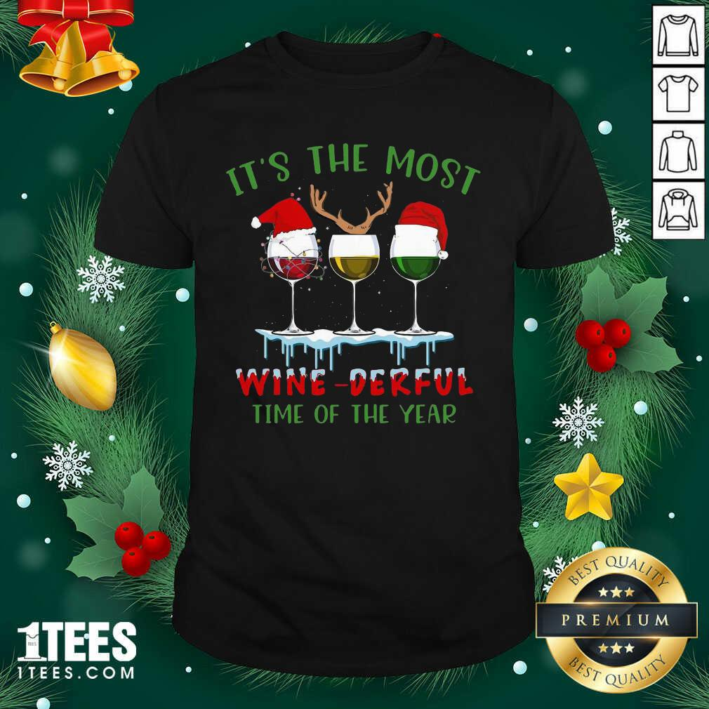 Its The Most Wine Derful Time Of The Year Merry Christmas Light Shirt- Design By 1Tees.com