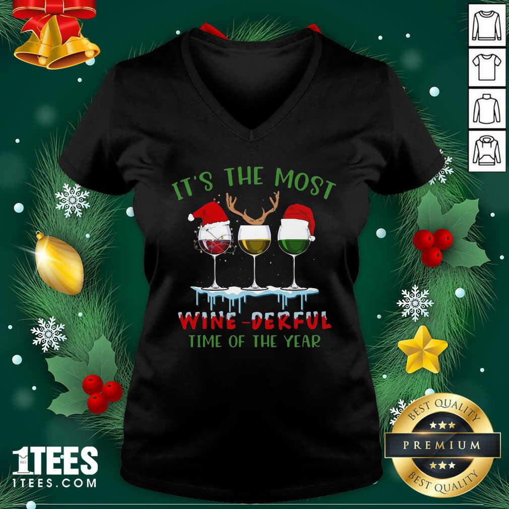 Its The Most Wine Derful Time Of The Year Merry Christmas Light V-neck- Design By 1Tees.com