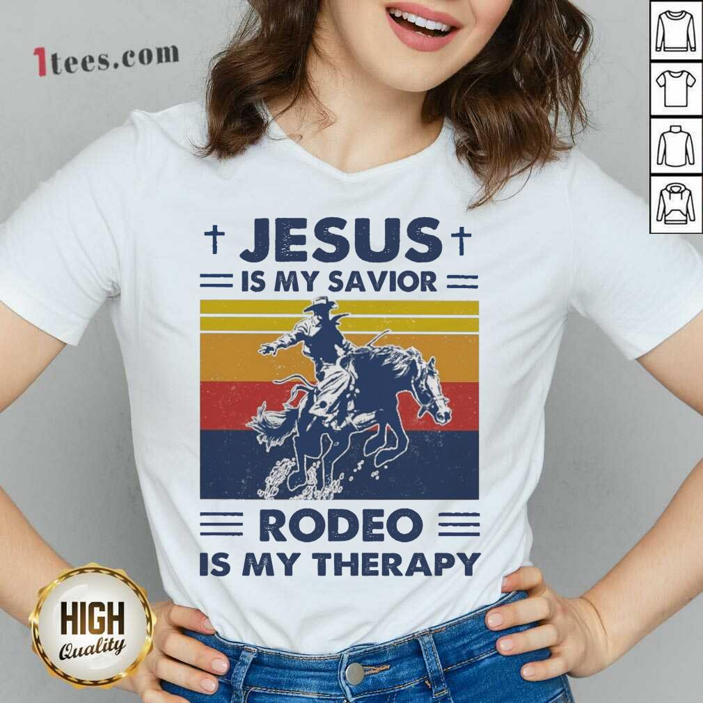 Jesus Is My Savior Rodeo Is My Therapy Vintage V-neck- Design By 1tees.com