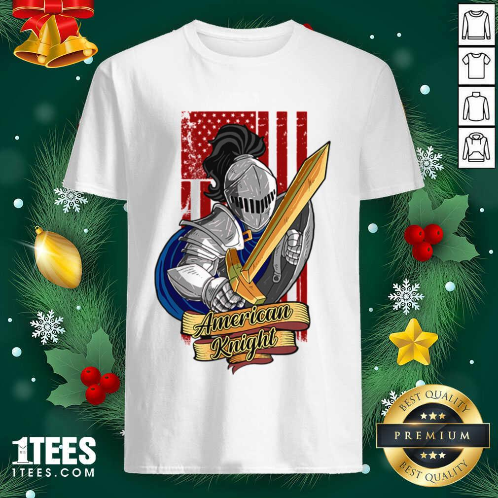 Knights Lover American Knight With Sword And Flag Shirt- Design By 1tees.com