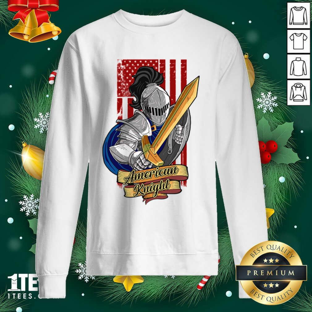 Knights Lover American Knight With Sword And Flag Sweatshirt- Design By 1tees.com