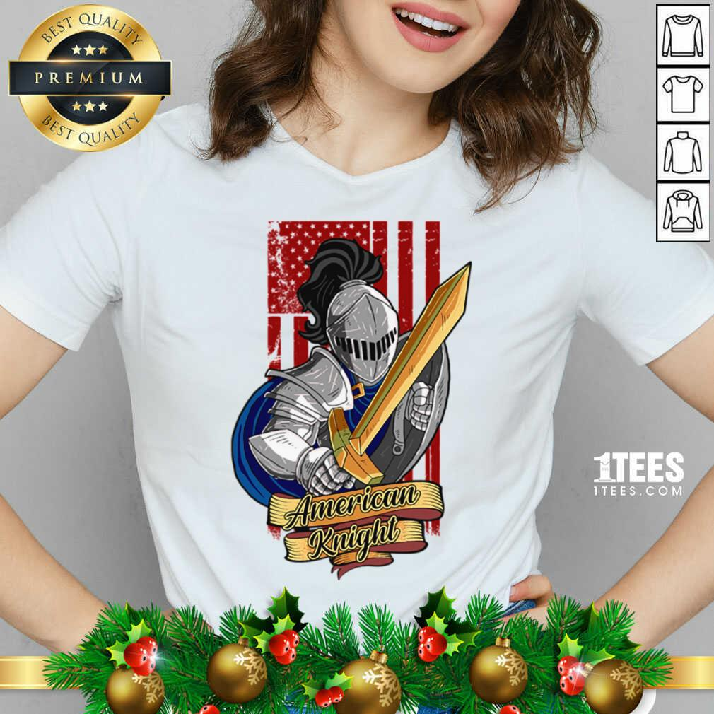 Knights Lover American Knight With Sword And Flag V-neck- Design By 1tees.com