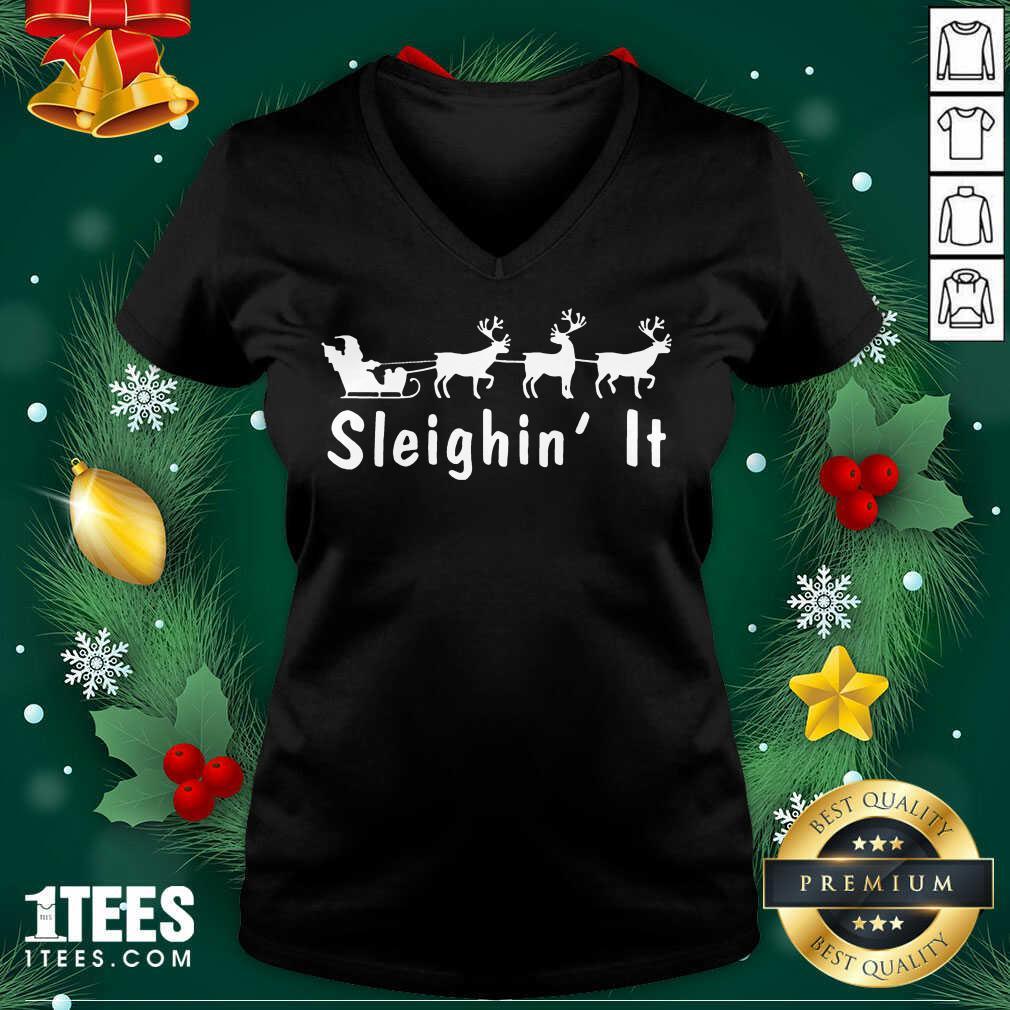 Sleighin It Christmas V-neck- Design By 1tees.com